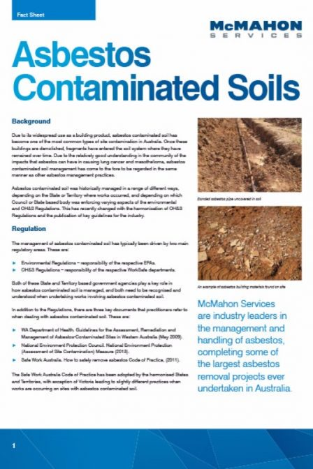 Asbestos contaminated soil fact sheet