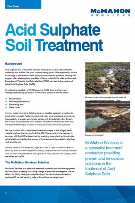 fact sheet on acid sulphate soil treatment