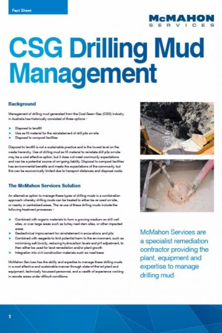 fact sheet on drilling mud management