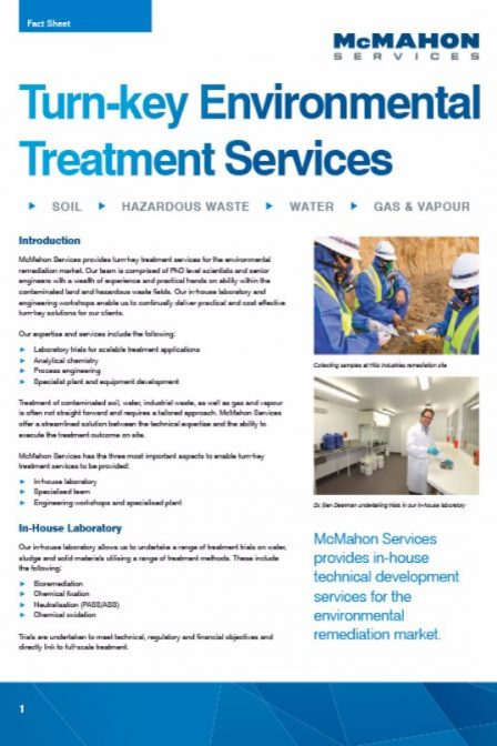 fact sheet on environmental treatment services